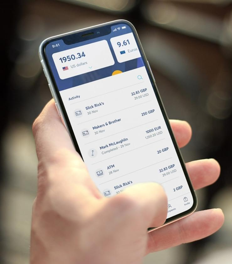 Mobile phone with TransferWise multi-currency account