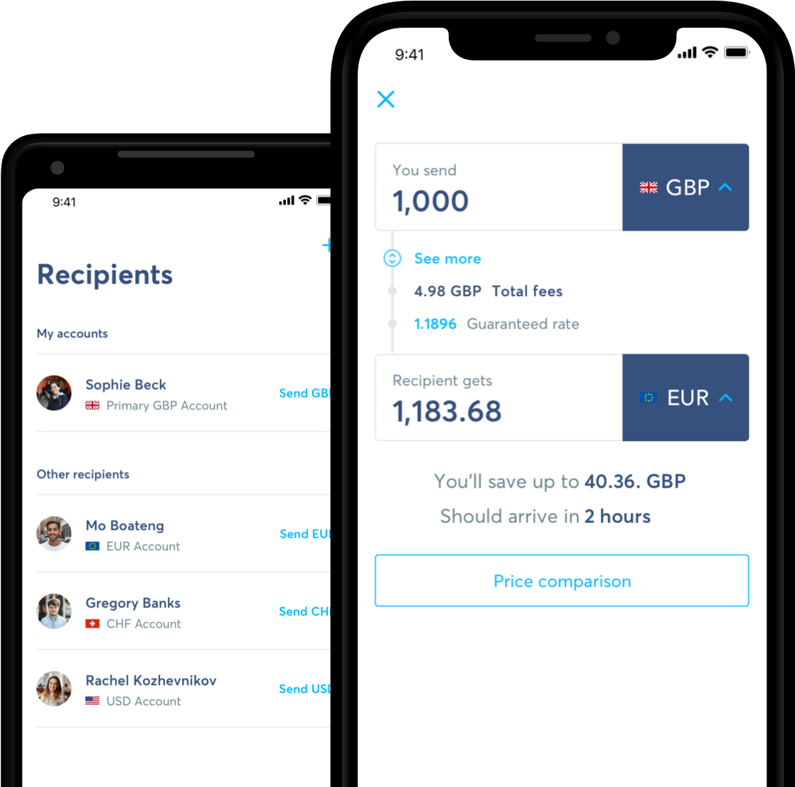 Mobile phone with TransferWise app